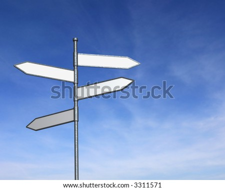 Crossroads Sign against Blue Sky - stock photo