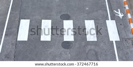 Crosswalk on the road - Top View - stock photo