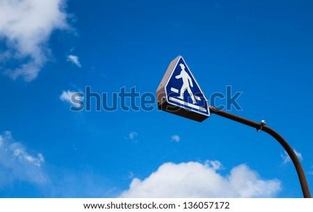 Crosswalk road sign - stock photo