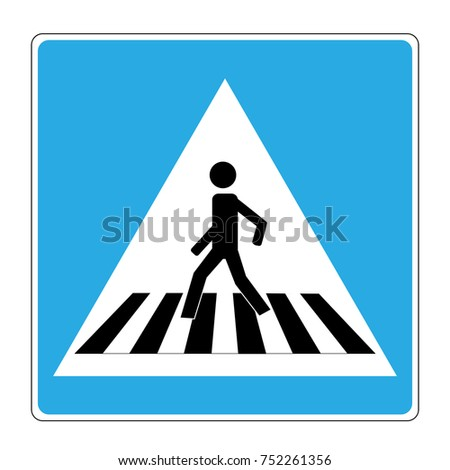 Crosswalk sign black on white triangle. Icon a pedestrian place for child near school. Symbol safety traffic human on road. Label for banner about crossing way. Design element. illustration