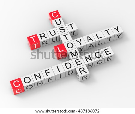 Crossword Customer Trust Loyalty Confidence 3d Render