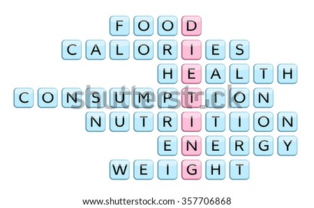 crossword word dieting related words food stock illustration