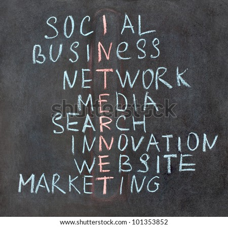 Crossword made of words: social, business, network, media, search, innovation, website, marketing, internet - stock photo