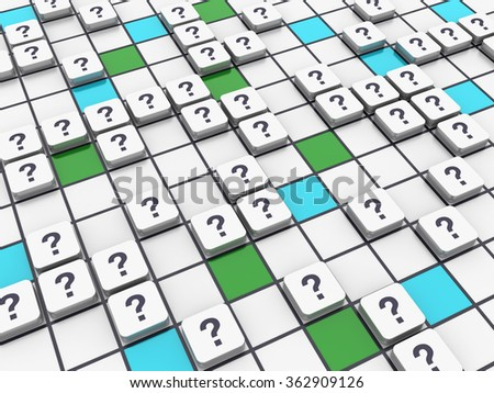 Crossword Series - Question Marks - High Quality 3D Render - stock photo
