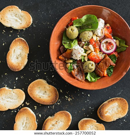 Crostini. Italian appetizer.Vegetarian Food. - stock photo