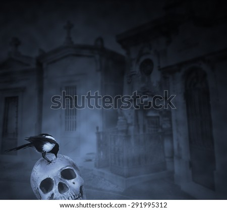 Crow on top of a human skull eating flesh remains against a cemetery background in a foggy night - stock photo