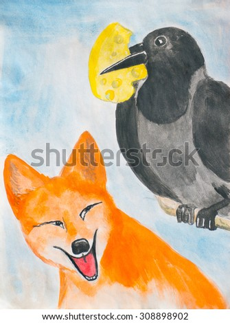 Crow with the cheese and the fox. Watercolor - stock photo
