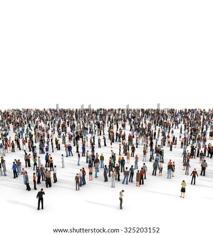 Crowd. A large group of people of a white background. - stock photo