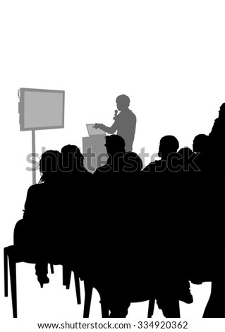 Crowd and speaker at presentation in office on a white background - stock photo