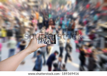 Crowd at exhibition. - stock photo