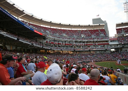 Crowd at the Cincinnati Reds game - stock photo