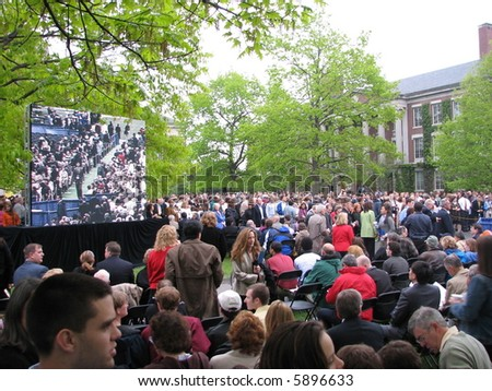 Crowd at University of Rochester commencement