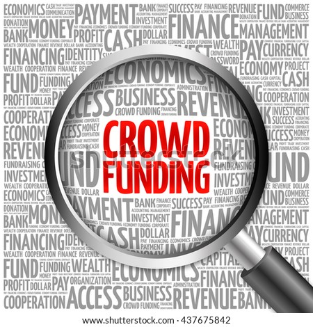 CROWD FUNDING word cloud with magnifying glass, business concept 3D illustration - stock photo