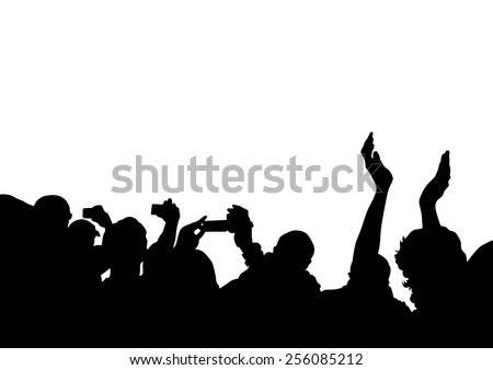 Crowd in front of the stage on a white background - stock photo