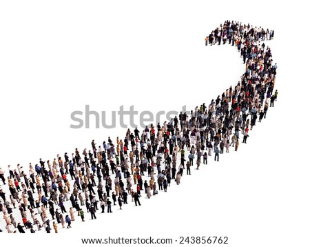 crowd in the shape of an arrow - stock photo