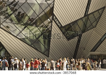 Crowd lines up for opening of new ROM museum in Toronto - stock photo