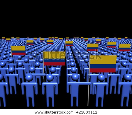 Crowd of abstract people with many Colombian flags 3d illustration