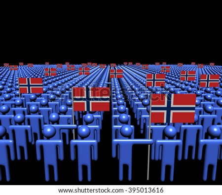 Crowd of abstract people with many Norwegian flags illustration - stock photo