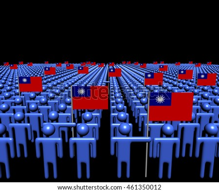 Crowd of abstract people with many Taiwanese flags 3d illustration