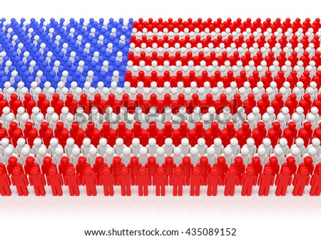 Crowd of American patriots in national US flag colors as symbol of celebration of 4th July (Independence day) or elections, electorate (voters) and voting. 3d illustration