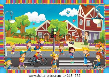 Crowd of children - illustration for the children - stock photo