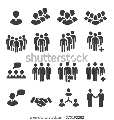 Crowd of people in team icon silhouettes - stock photo