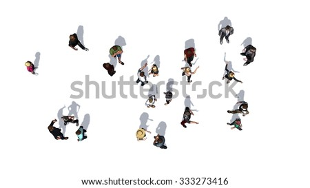 crowd of people in top-view isolated on white background - stock photo