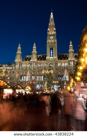 crowd of people on the Christmas market in Vienna, Austria - stock photo