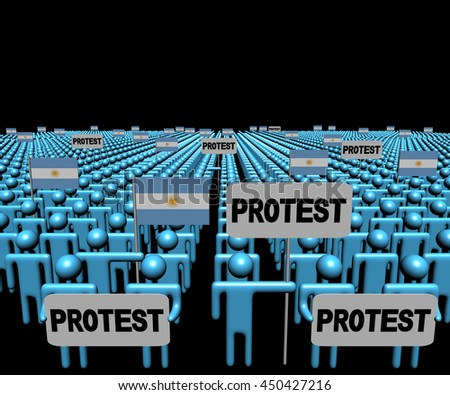 Crowd of people with protest signs and Argentina flags 3d illustration - stock photo
