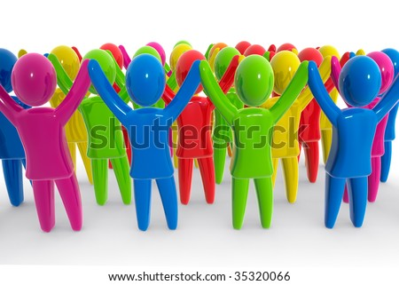 Crowd of people with raised hands. - stock photo