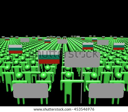 Crowd of people with signs and Bulgarian flags 3d illustration - stock photo