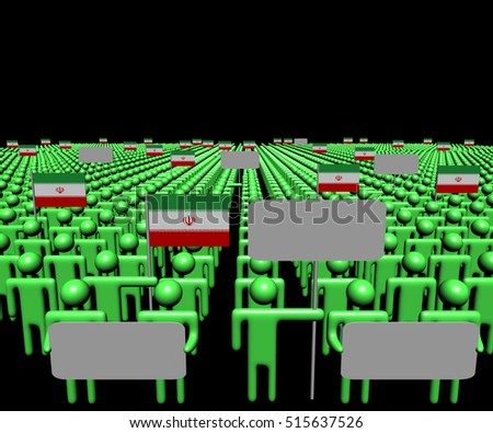 Crowd of people with signs and Iranian flags 3d illustration
