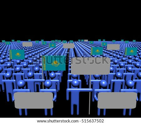 Crowd of people with signs and Kazakhstan flags 3d illustration