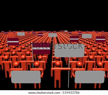 Crowd of people with signs and Latvian flags 3d illustration