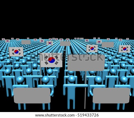 Crowd of people with signs and South Korean flags 3d illustration