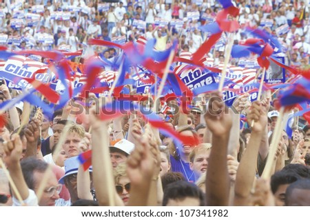 Crowd of 50,000 rallies at the University of Texas during the Clinton/Gore 1992 Buscapade campaign tour in Austin, Texas - stock photo