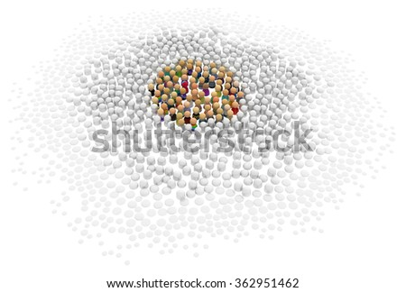 Crowd of small symbolic 3d figures colorize center, over white