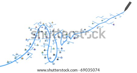 Crowd of small symbolic 3d figures linked by lines, line being drawn, isolated - stock photo