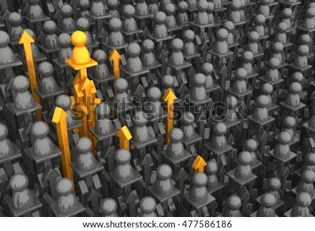 Crowd of small symbolic figures arrow pillars, 3d illustration, horizontal