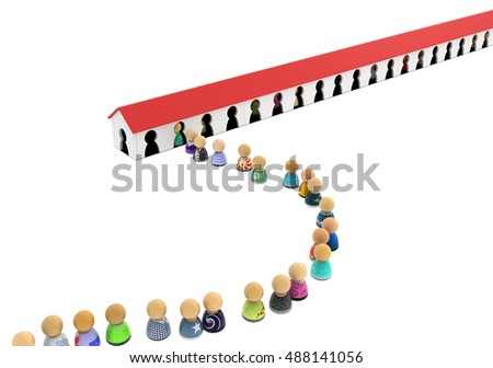 Crowd of small symbolic figures entry house, 3d illustration, horizontal