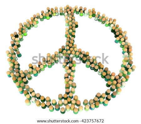 Crowd of small symbolic figures, peace symbol shape, 3d illustration, horizontal - stock photo