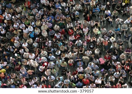 Crowd of tourists - stock photo