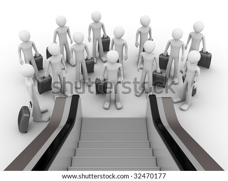 Crowd of tourists before escalator - stock photo