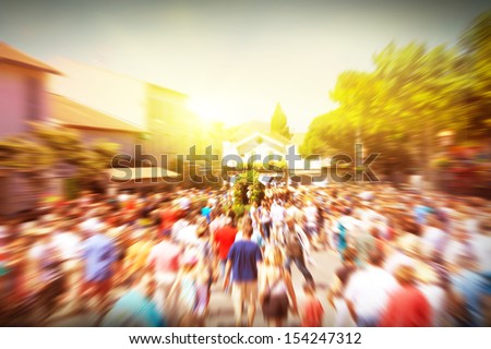 Crowd of walking people in the city. - stock photo