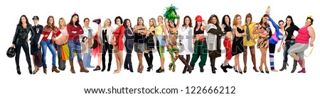 Crowd or group of different women isolated in white - stock photo