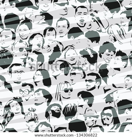 Crowd Seamless Background; also available as vector format - stock photo