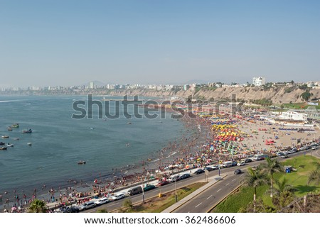 Crowded beach in Lima, Peru, district of Chorrillos