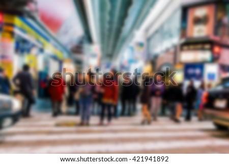 Crowded blurred street in Osaka,Japan. Blurred people background. - stock photo