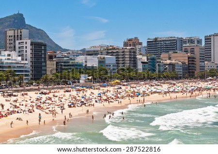 Crowded Ipanema and Leblon Beaches on Clear Sunny Summer Day, Rio de Janeiro, Brazil - stock photo