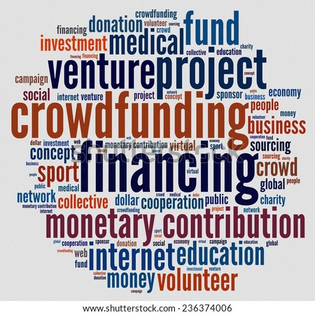 Crowdfunding in word collage - stock photo